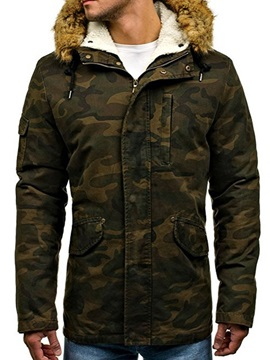 Camouflage Hooded Faux Fur Pocket Men's Coat