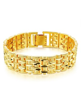 Hot Sale 18K Golden E-plating Wide Chain Men's Bracelet