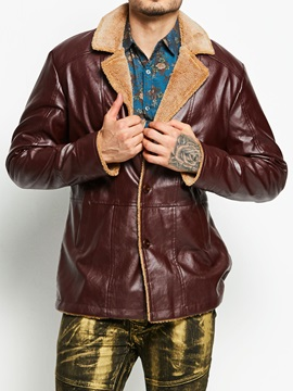 Plain Lapel Single-Breasted Men's Leather Jacket