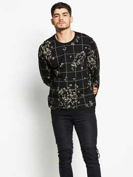 Tidebuy Floral Print Plaid Long Sleeve Men's T-Shirt