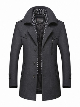 Tidebuy Lapel Plain Single-Breasted Men's Coat