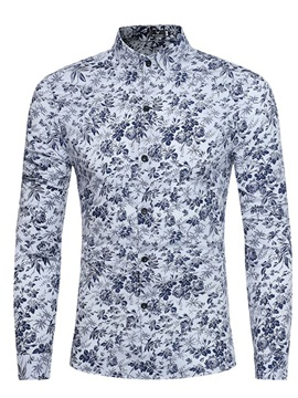 Tidebuy Lapel Floral Print Men's Slim Shirt