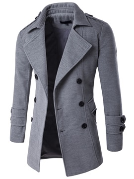 Tidebuy Plain Lapel Double-Breasted Men's Coat