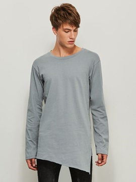 Round Neck Plain Long Sleeve Men's Loose T-Shirt