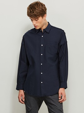 Lapel Single-Breasted Plain Men's Casual Shirt