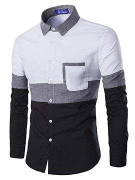 Lapel Color Block Patchwork Men's Shirt