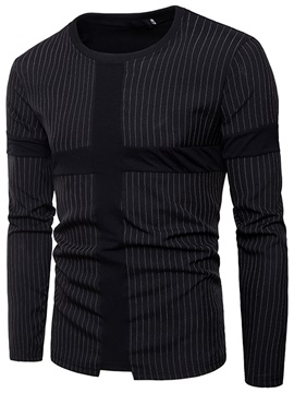 Tidebuy Stripe Plain Round Neck Long Sleeve Men's T-Shirt