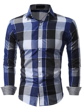 Square Neck Color Block Slim Men's Shirt