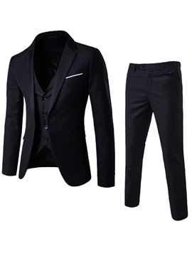 Plain Three-Piece of Casual Slim Men's Suit
