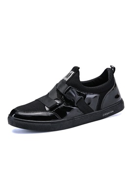 PU Patchwork Low-Cut Upper Black Casual Shoes