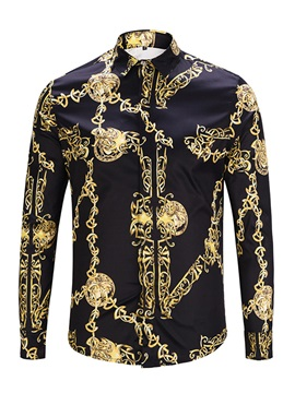 Tidebuy Vintage Print Stylish Men's Long Sleeve Shirt