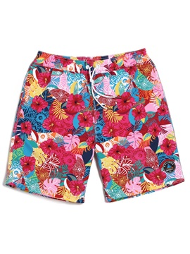 Tidebuy Colorful Floral Print Men's Beach Board Shorts