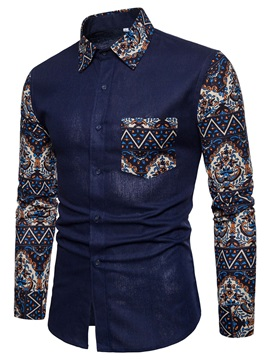 Tidebuy Floral Patchwork Men's Casual Shirt with Pocket