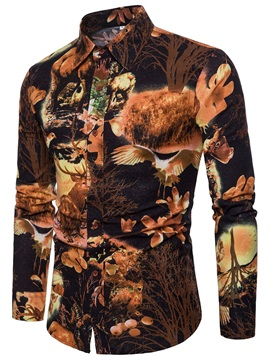 Lapel Unique Print Men's Long Sleeve Shirt