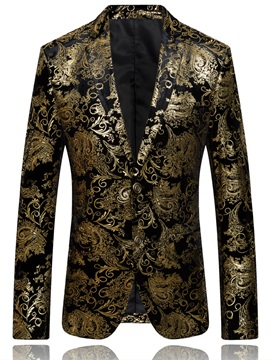 Tidebuy Notched Collar Floral Printed Slim Men's Blazer