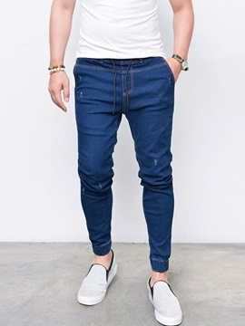 Tidebuy Plain Lace-Up Men's Skinny Jeans