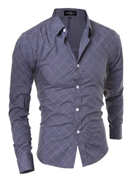 Plaid Solid Color Slim Fit Men's Long Sleeve Shirt