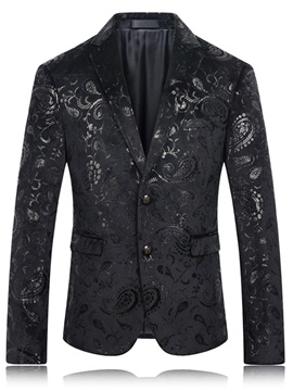 Black Floral Print Two Button Men's Slim Blazer
