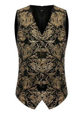 Ethnic Golden Floral Single-Breasted Slim Men's Vest