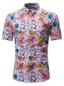 Tidebuy Floral Print Short Sleeve Men's Fashion Shirt