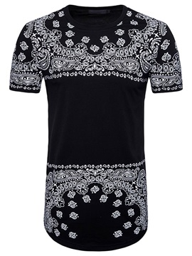 Tidebuy Floral Print Short Sleeve Men's Long T-Shirt