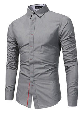 Tidebuy Lapel Solid Color Men's Casual Shirt