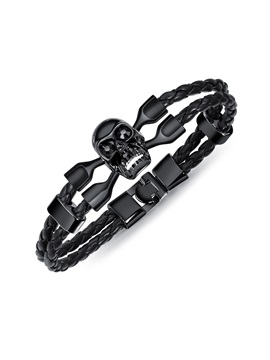 Skull Head Shape PU Braid Rope Bracelets for Men