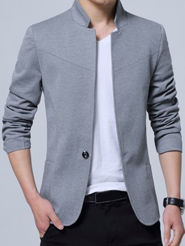 Plain Stand Collar One Button Men's Casual Blazer