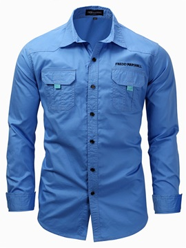 Tidebuy Cotton Plain Casual Men's Long Sleeve Shirt