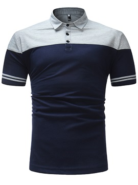 Tidebuy Color Block Patchwork Men's Casual Polo