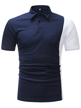 Tidebuy Slim Color Block Patchwork Men's Polo