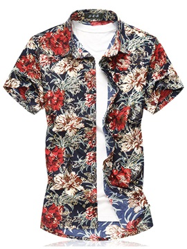 Tidebuy Floral Print Plus Size Men's Casual Shirt