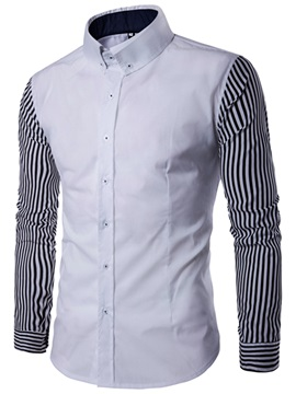 Tidebuy Stripe Patchwork Color Block Men's Casual Shirt