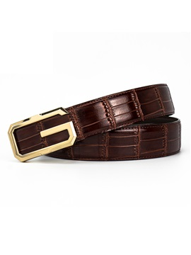 Metal Smooth Buckle Thread PU Men's Belt