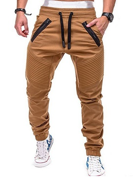 Pleated Zipper Lace-Up Men's Casual Pants