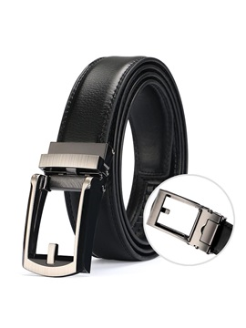 Pure Color Solid Automatic Buckle PU Men's Belt