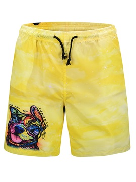 Tidebuy Yellow Dog Print Summer Men's Board Shorts