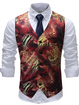 Tidebuy Floral Print Button Men's Stylish Vest