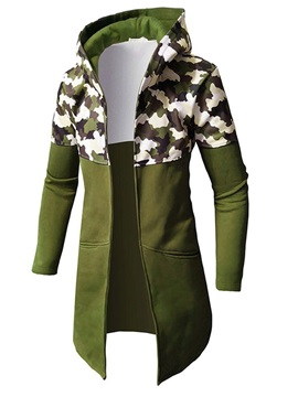 Hooded Camo Patchwork Zipper Men's Jacket