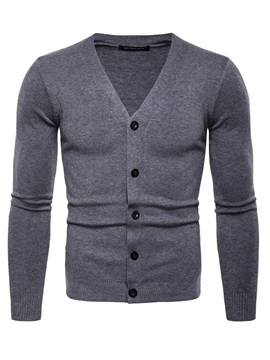 Cardigan Plain Single-Breasted Men's Sweater
