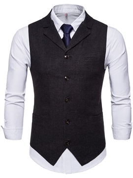 Tidebuy Plain Single-Breasted Men's Slim Vest