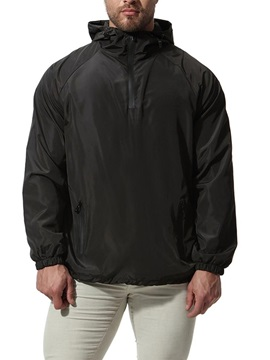 Tidebuy Black Hooded Zipper Men's Thin Jacket