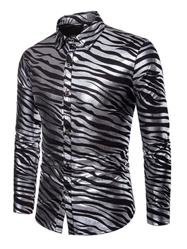 Tidebuy Zebra Stripe Gilding Men's Casual Shirt