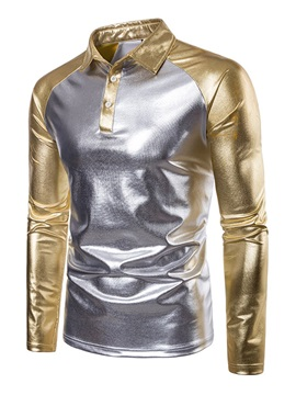 Color Block Gilding Men's Long Sleeve Polo
