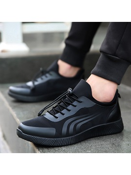 Elastic Band Round Toe Men's Comfortable Shoes