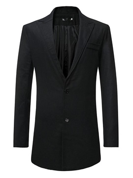 Notched Lapel Plain Button Mid-Length Men's Coat