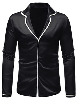 Color Block Single-Breasted Men's Casual Shirt