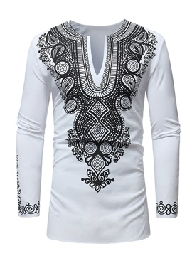 Dashiki African Fashion Print White Men's Long T-Shirt