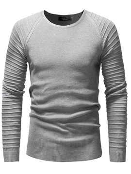 Solid Color Pleated Round Neck Men's Pullover Sweater