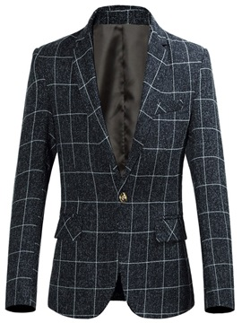 Color Block Plaid One Button Men's Slim Blazer